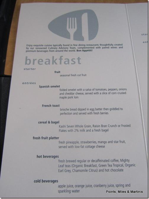 Acela Breakfast Menu